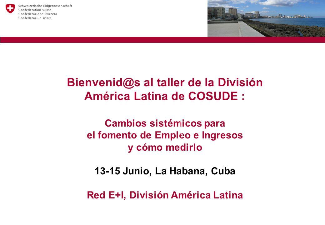 Bienvenid@s al taller de la División América Latina de COSUDE : Cambios sistémicos para el fomento de Empleo e Ingresos y cómo medirlo 13-15 Junio, La Habana, Cuba Red E+I, División América Latina