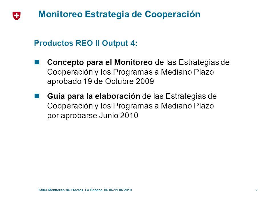 3Taller Monitoreo de Efectos, La Habana, 06.06-11.06.2010 Monitoreo Estrategia de Cooperación Reforzar eficacia y pertinencia de los programas de COSUDE (pilotaje): - énfasis en el proceso - lecciones aprendidas - apreciaciones compartidas Facilitar la rendición de cuentas y comunicación (interna / externa) basada en los resultados: - decisiones transparentes y documentadas - base para la comunicación externa Objetivos principales: