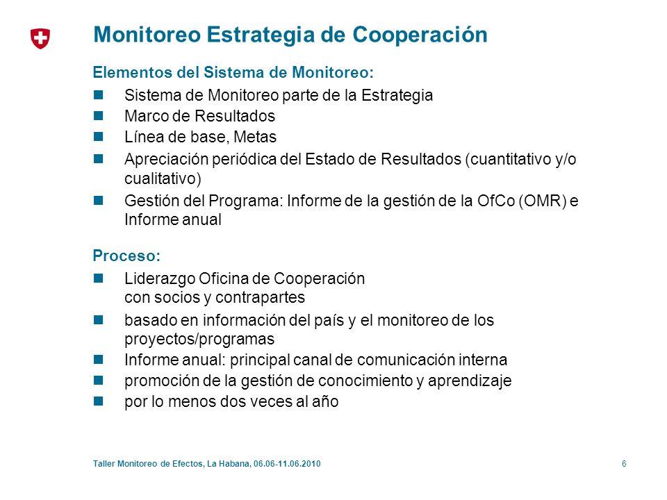 7Taller Monitoreo de Efectos, La Habana, 06.06-11.06.2010 Monitoreo Estrategia de Cooperación Marco de Resultados: [País] (1) Efectos esperados a nivel país de desarrollo o humanitarios (2) Contribución del programa Suizo - vínculos entre (3) y (1) - resultados intermediarias - desafíos, obstáculos - riesgos, supuestos (3) Efectos esperados del portafolio Suizo (4) Líneas de intervención (Programa Suizo) (5) Recursos, partenariados (Programa Suizo) Ámbito de intervención 1: [Nombre o descripción breve] Efectos esperados Indicador -Línea de base [año] -Meta [año] Descripción de los vínculos entre objetivos del país y los efectos resultando del portafolio Suizo, dando énfasis a los resultados intermediarias, desafíos, obstáculos y/o riesgos Efectos esperados Indicador -Línea de base [año] -Meta [año] Descripción resaltando las líneas de intervención a través de las cuales se piensa obtener los efectos esperados Si aplica indicar resultados intermediarias o etapas requeridas Recursos financieros previstos por ámbito de intervención (o por efecto esperado) y por periodo Si aplica información de cofinanciamientos Otros aspectos de los partenariados (resultados compartidos, contribuciones complementarias) Recursos humanos Efectos esperados Indicador -Línea de base [año] -Meta [año] Efectos esperados Indicador -Línea de base [año] -Meta [año] Ámbito de intervención 2: [Nombre o descripción breve]] Efectos esperados Indicador -Línea de base [año] -Meta [año] Efectos esperados Indicador -Línea de base [año] -Meta [año]
