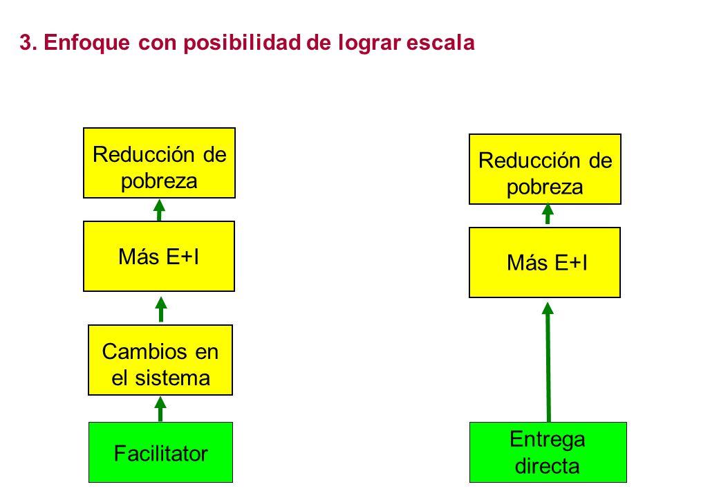 3. Enfoque con posibilidad de lograr escala Reducción de pobreza Facilitator Cambios en el sistema Más E+I Facilitator Entrega directa Provider Reducc