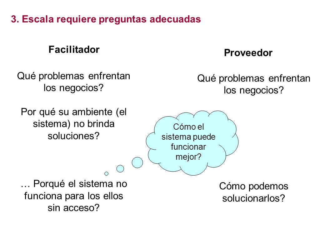 Reducción de pobreza Facilitator Cambios en el sistema Más E+I Facilitator Entrega directa Provider Reducción de pobreza Más E+I Facilitador Qué probl