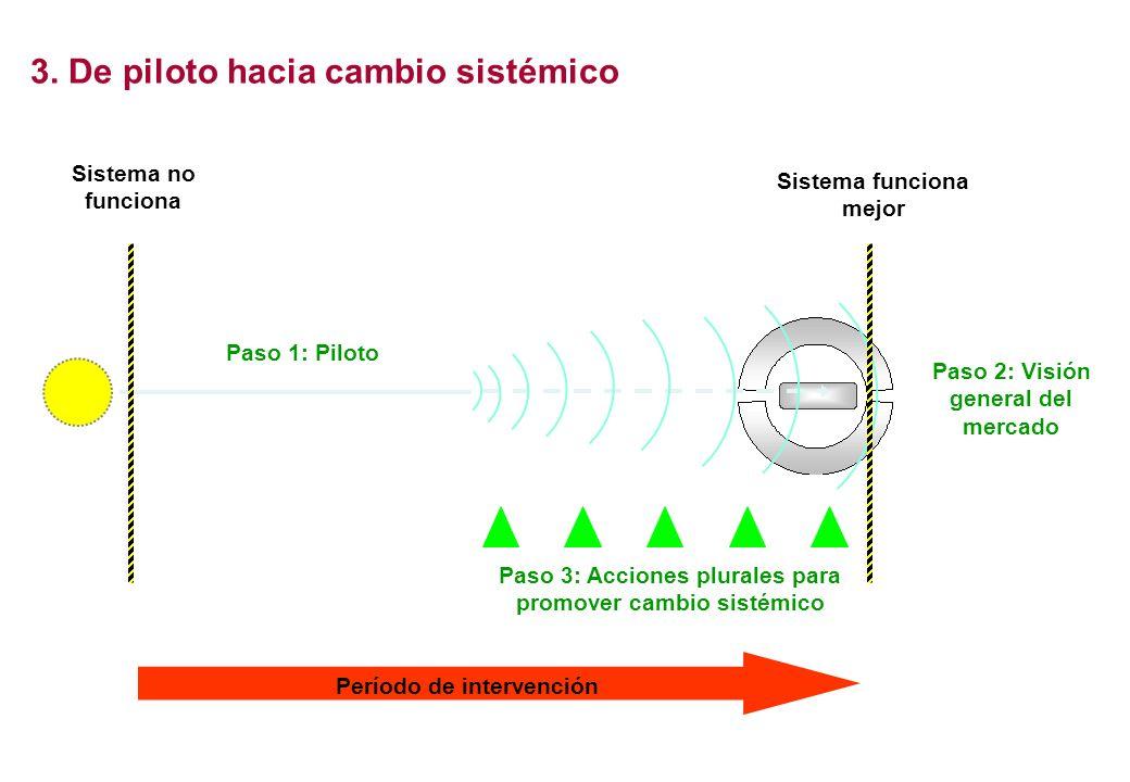 3. De piloto hacia cambio sistémico Sistema no funciona Sistema funciona mejor Período de intervención Paso 3: Acciones plurales para promover cambio