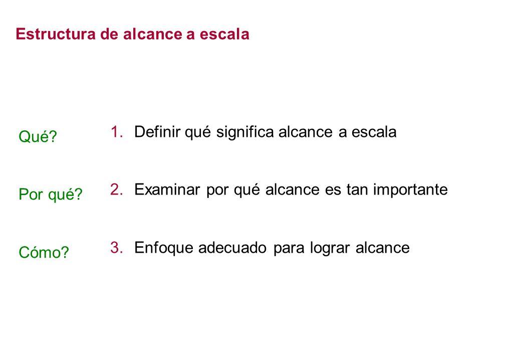 Estructura de alcance a escala 1.Definir qué significa alcance a escala 2.Examinar por qué alcance es tan importante 3.Enfoque adecuado para lograr al