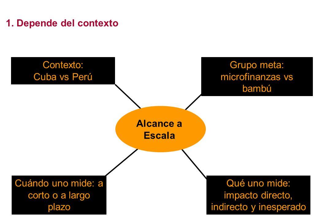 1. Depende del contexto Contexto: Cuba vs Perú Grupo meta: microfinanzas vs bambú Cuándo uno mide: a corto o a largo plazo Qué uno mide: impacto direc