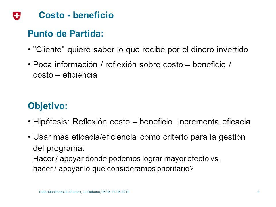 2Taller Monitoreo de Efectos, La Habana, 06.06-11.06.2010 Costo - beneficio Punto de Partida: Cliente quiere saber lo que recibe por el dinero invertido Poca información / reflexión sobre costo – beneficio / costo – eficiencia Objetivo: Hipótesis: Reflexión costo – beneficio incrementa eficacia Usar mas eficacia/eficiencia como criterio para la gestión del programa: Hacer / apoyar donde podemos lograr mayor efecto vs.