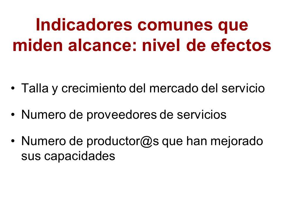 Indicadores comunes que miden alcance: nivel de efectos Talla y crecimiento del mercado del servicio Numero de proveedores de servicios Numero de prod