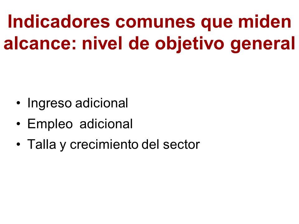 Indicadores comunes que miden alcance: nivel de objetivo general Ingreso adicional Empleo adicional Talla y crecimiento del sector