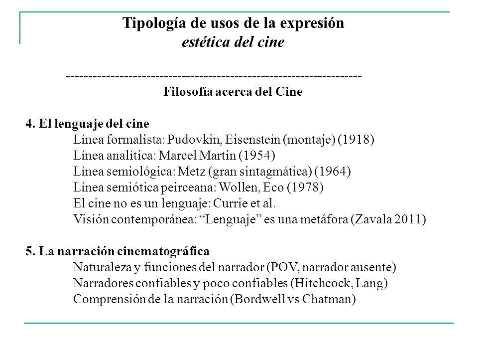 Tipología de usos de la expresión estética del cine ------------------------------------------------------------------- Filosofía acerca del Cine 6.