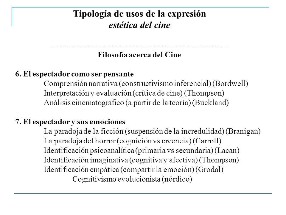 Tipología de usos de la expresión estética del cine ------------------------------------------------------------------- Filosofía acerca del Cine 8.
