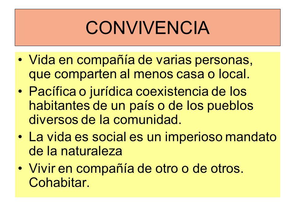 CONVIVENCIA Vida en compañía de varias personas, que comparten al menos casa o local. Pacífica o jurídica coexistencia de los habitantes de un país o