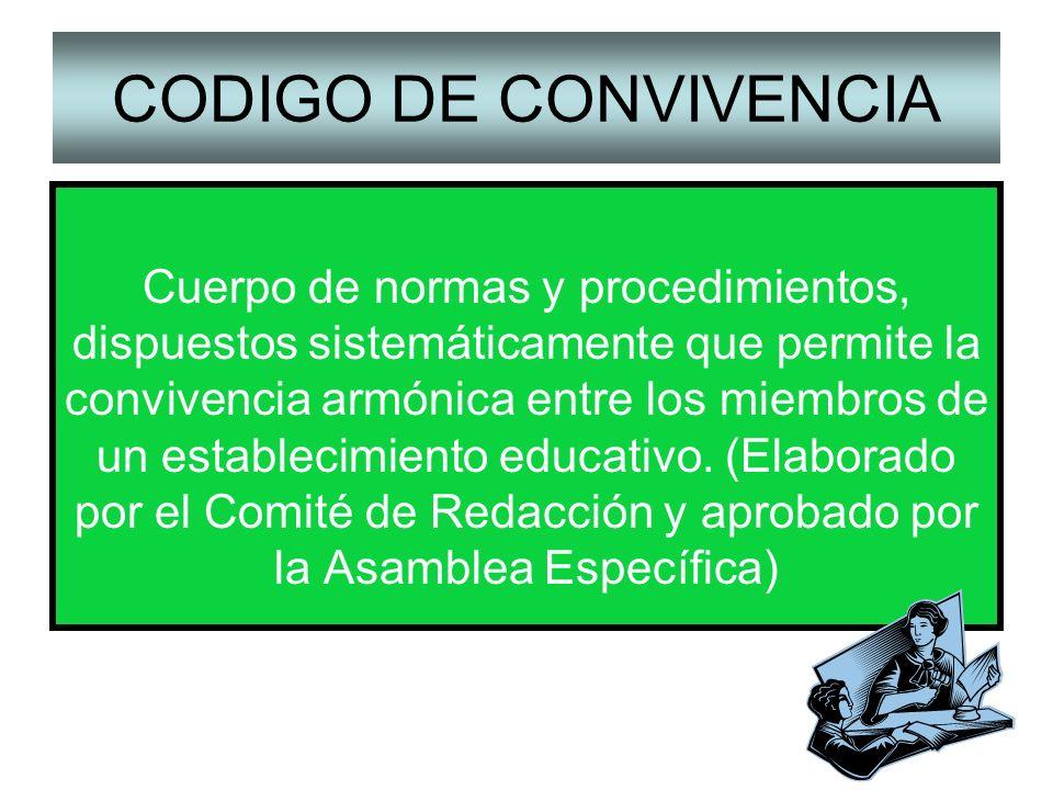 CODIGO DE CONVIVENCIA Cuerpo de normas y procedimientos, dispuestos sistemáticamente que permite la convivencia armónica entre los miembros de un esta
