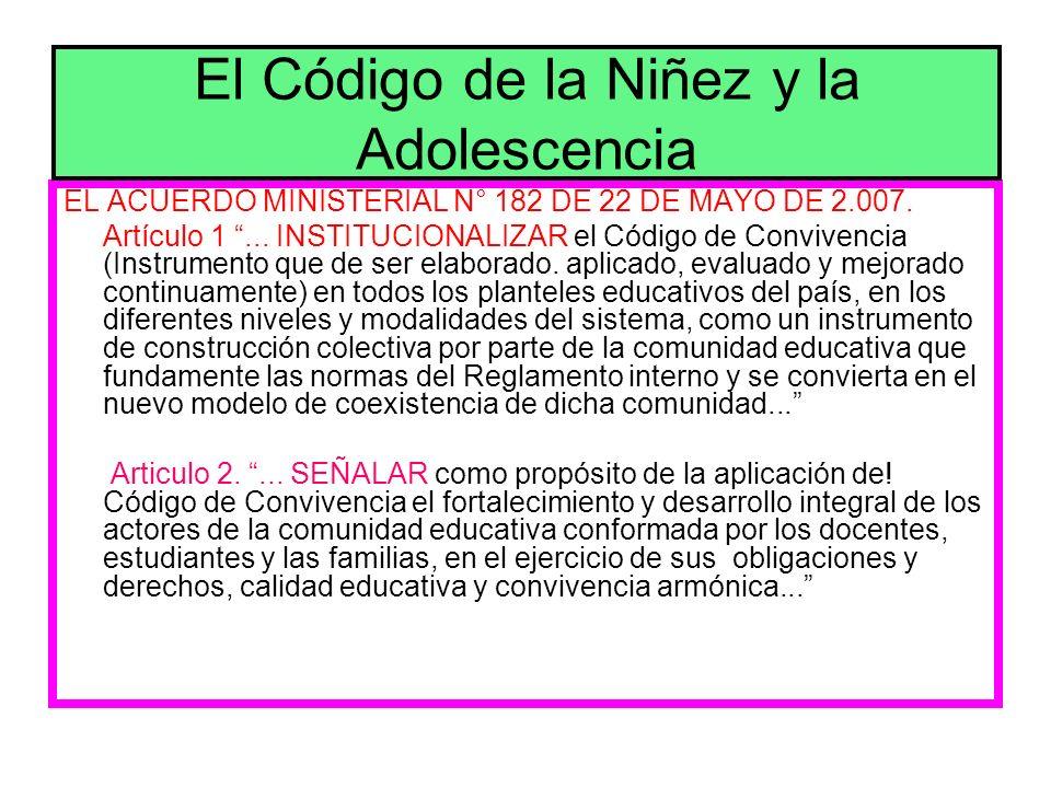 EL ACUERDO MINISTERIAL N° 182 DE 22 DE MAYO DE 2.007. Artículo 1... INSTITUCIONALIZAR el Código de Convivencia (Instrumento que de ser elaborado. apli