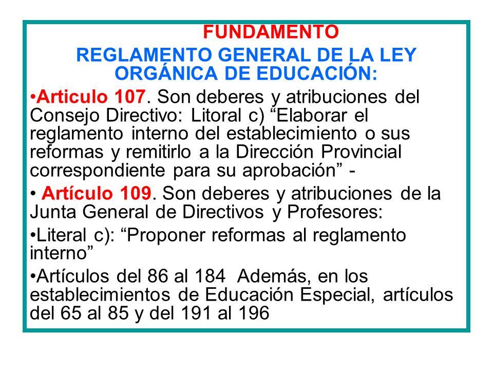 FUNDAMENTO REGLAMENTO GENERAL DE LA LEY ORGÁNICA DE EDUCACIÓN: Articulo 107. Son deberes y atribuciones del Consejo Directivo: Litoral c) Elaborar el