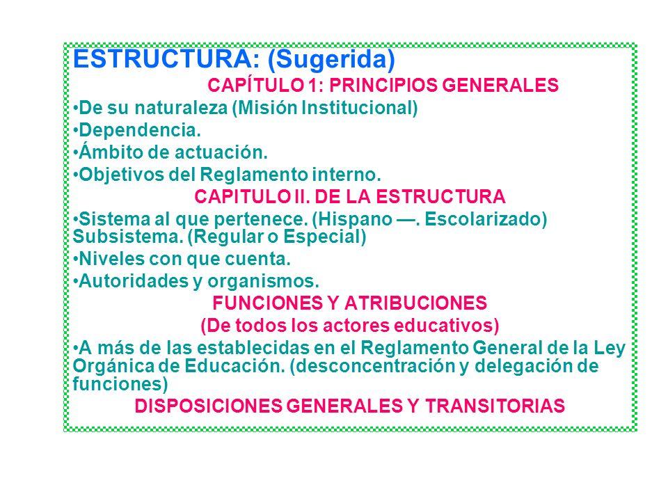 ESTRUCTURA: (Sugerida) CAPÍTULO 1: PRINCIPIOS GENERALES De su naturaleza (Misión Institucional) Dependencia. Ámbito de actuación. Objetivos del Reglam
