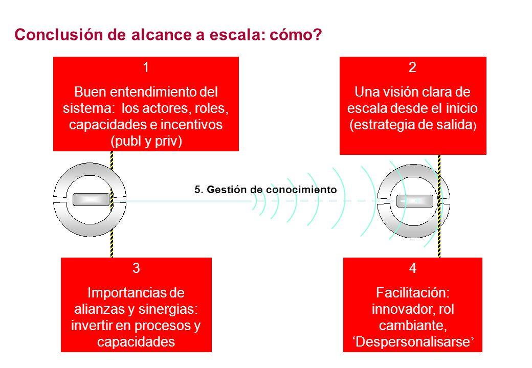 1 Buen entendimiento del sistema: los actores, roles, capacidades e incentivos (publ y priv) 4 Facilitación: innovador, rol cambiante, Despersonalisarse 3 Importancias de alianzas y sinergias: invertir en procesos y capacidades 2 Una visión clara de escala desde el inicio (estrategia de salida ) 5.