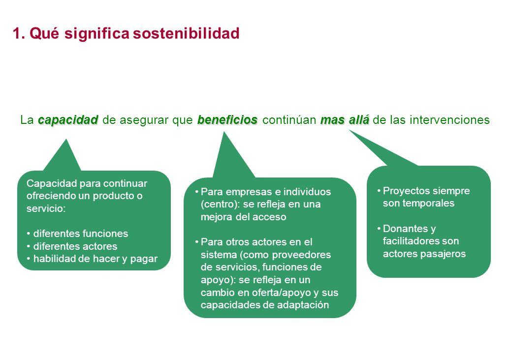 capacidad beneficios mas allá La capacidad de asegurar que beneficios continúan mas allá de las intervenciones Proyectos siempre son temporales Donant