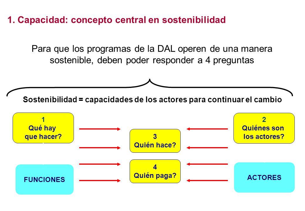 Para que los programas de la DAL operen de una manera sostenible, deben poder responder a 4 preguntas 1 Qué hay que hacer? FUNCIONES Sostenibilidad =