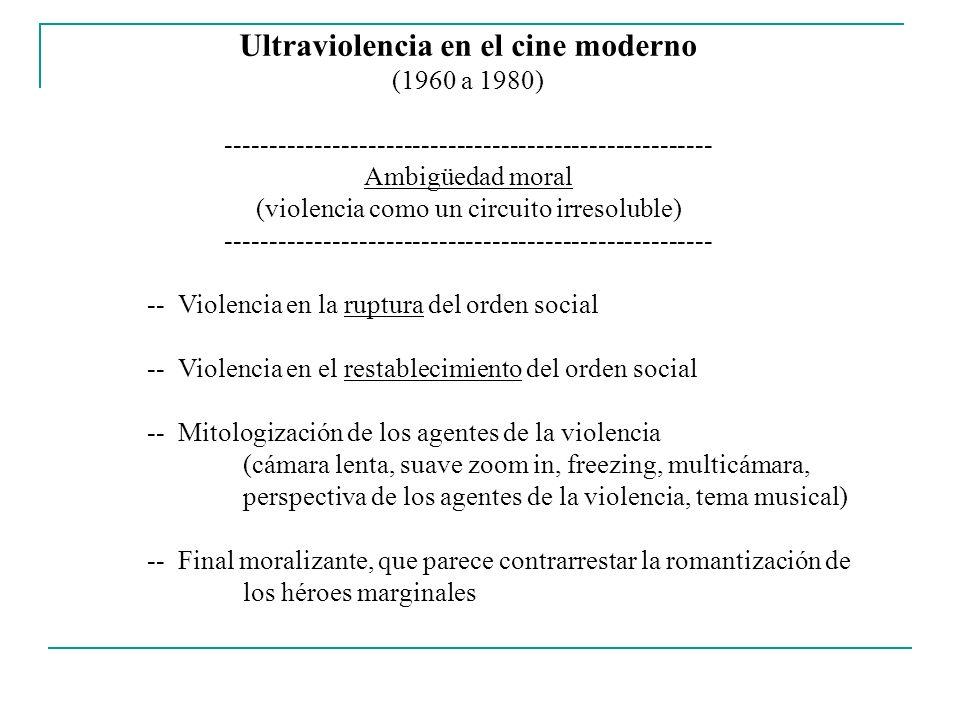 Ultraviolencia en el cine moderno (1960 a 1980) ------------------------------------------------------- Ambigüedad moral (violencia como un circuito i