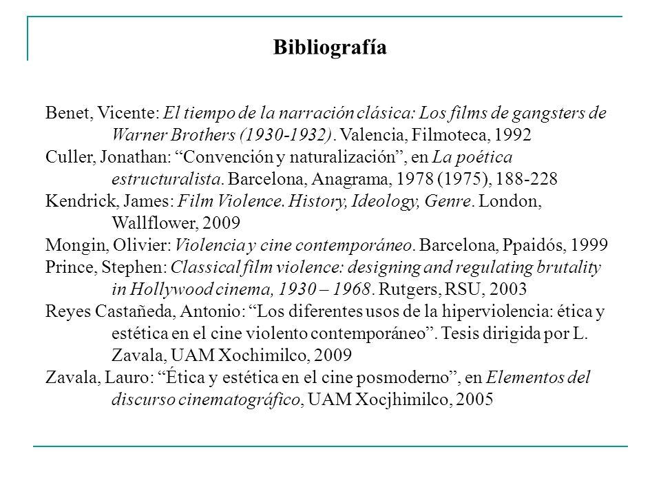Bibliografía Benet, Vicente: El tiempo de la narración clásica: Los films de gangsters de Warner Brothers (1930-1932). Valencia, Filmoteca, 1992 Culle