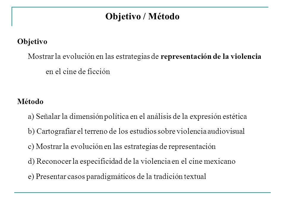 Objetivo / Método Objetivo Mostrar la evolución en las estrategias de representación de la violencia en el cine de ficción Método a) Señalar la dimens