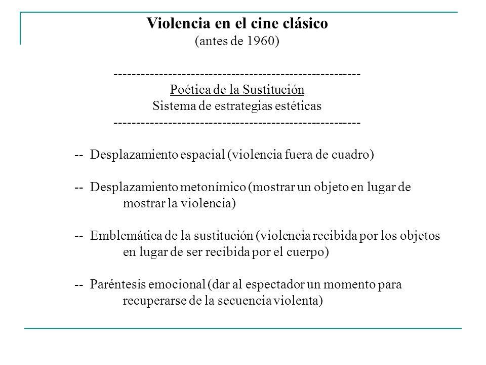 Violencia en el cine clásico (antes de 1960) ------------------------------------------------------- Poética de la Sustitución Sistema de estrategias