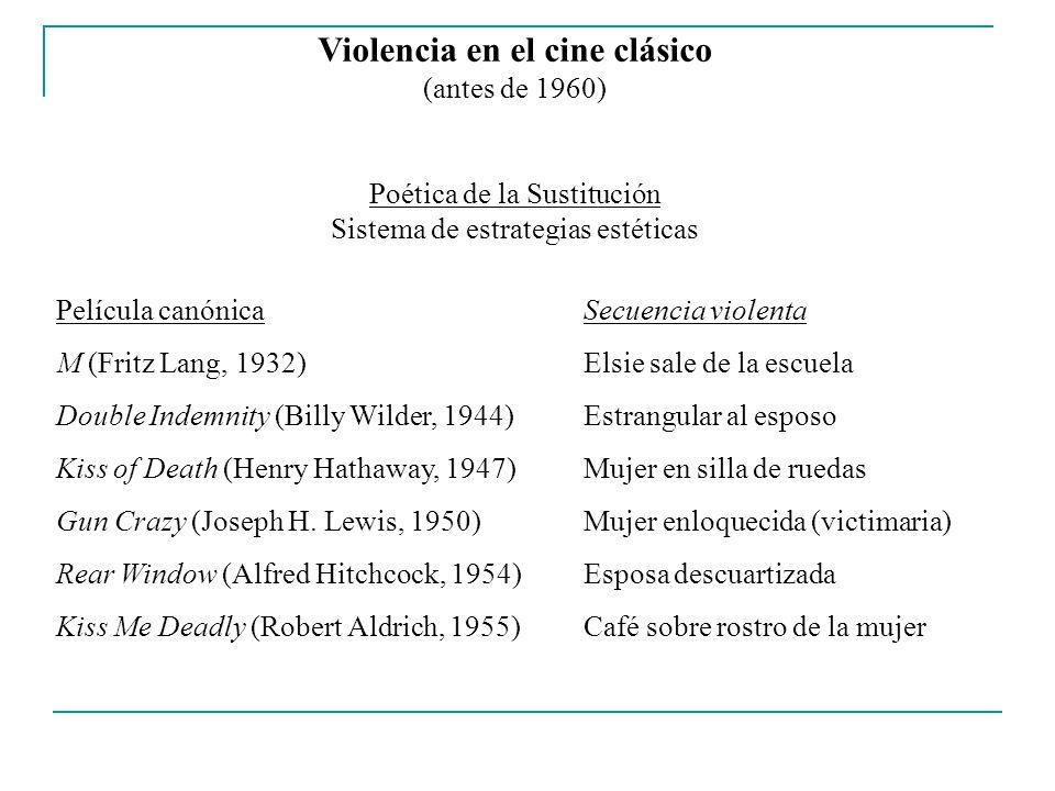 Violencia en el cine clásico (antes de 1960) Poética de la Sustitución Sistema de estrategias estéticas Película canónicaSecuencia violenta M (Fritz L