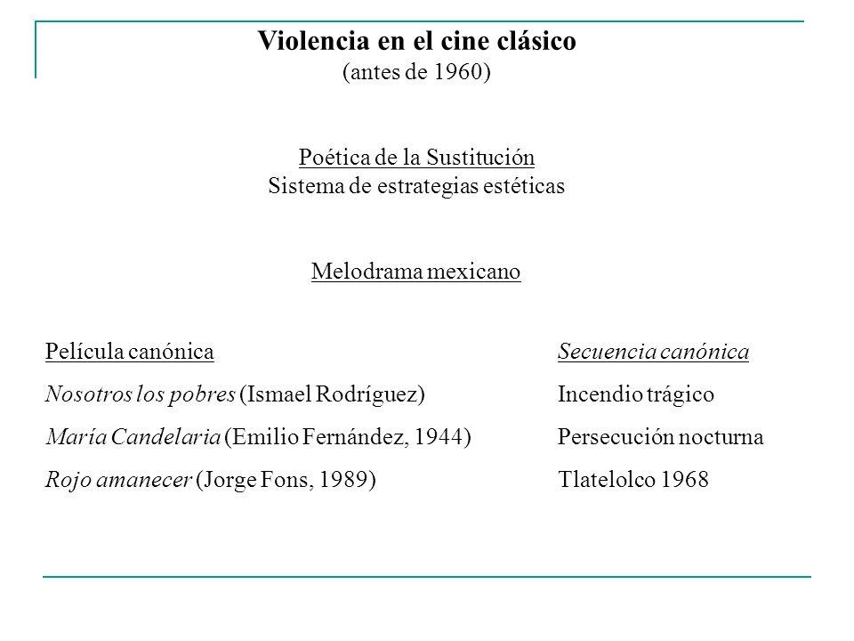 Violencia en el cine clásico (antes de 1960) Poética de la Sustitución Sistema de estrategias estéticas Melodrama mexicano Película canónicaSecuencia