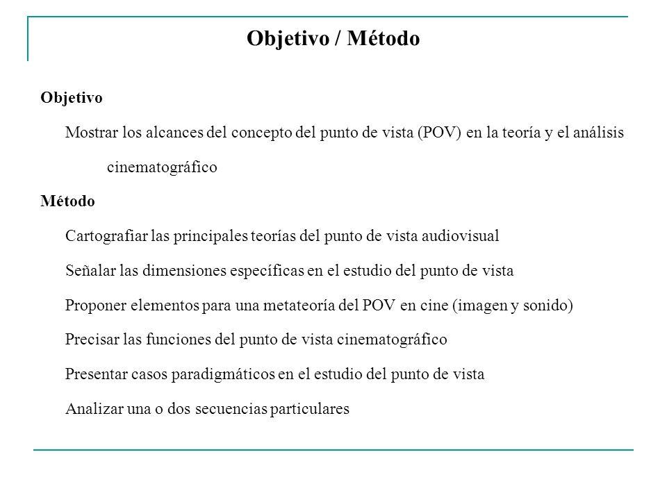 Objetivo / Método Objetivo Mostrar los alcances del concepto del punto de vista (POV) en la teoría y el análisis cinematográfico Método Cartografiar l