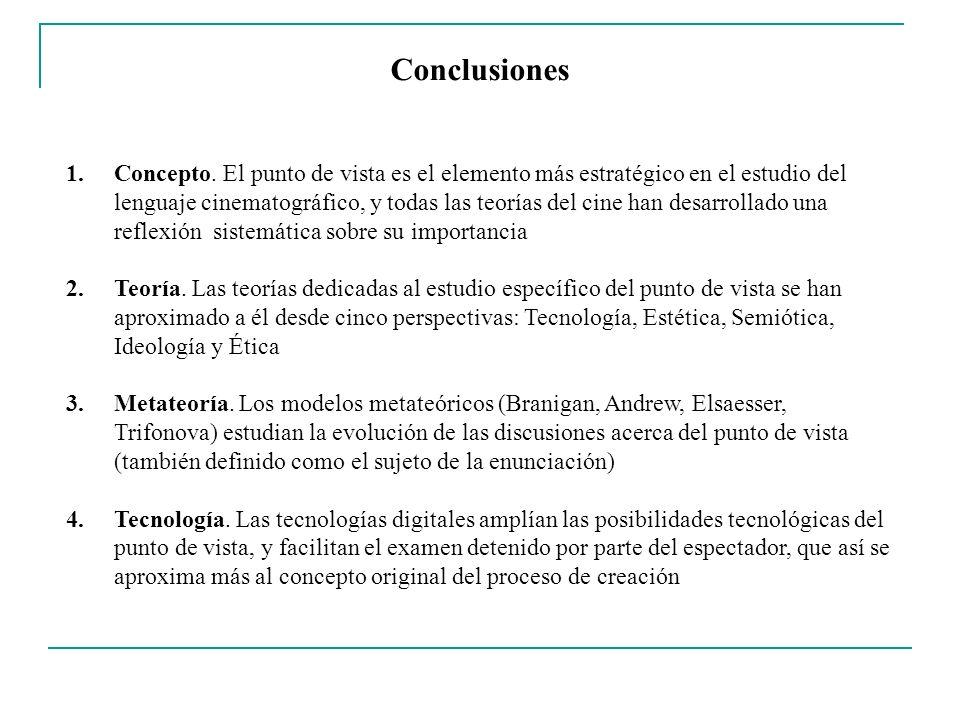 Conclusiones 1.Concepto. El punto de vista es el elemento más estratégico en el estudio del lenguaje cinematográfico, y todas las teorías del cine han