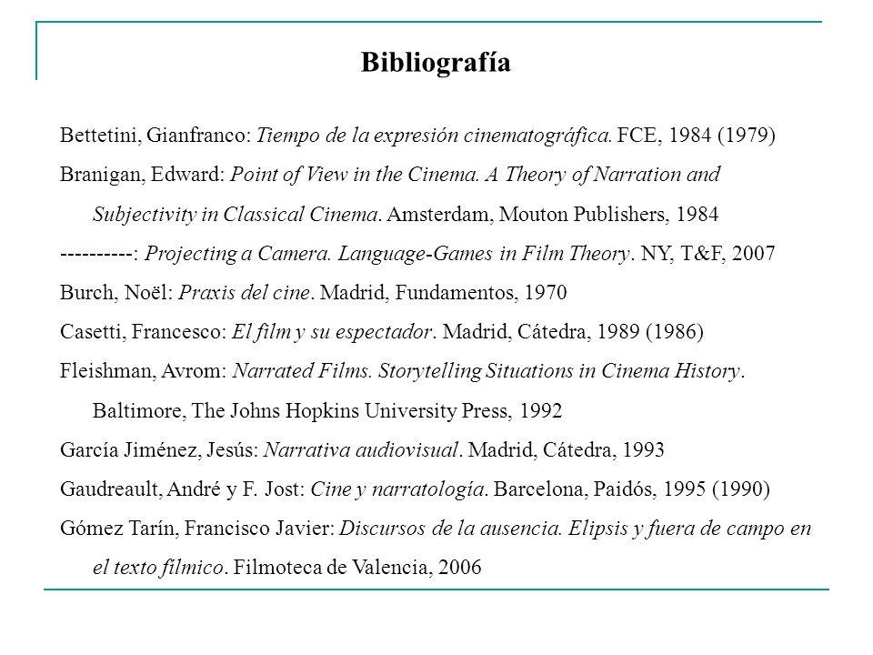 Bibliografía Bettetini, Gianfranco: Tiempo de la expresión cinematográfica. FCE, 1984 (1979) Branigan, Edward: Point of View in the Cinema. A Theory o