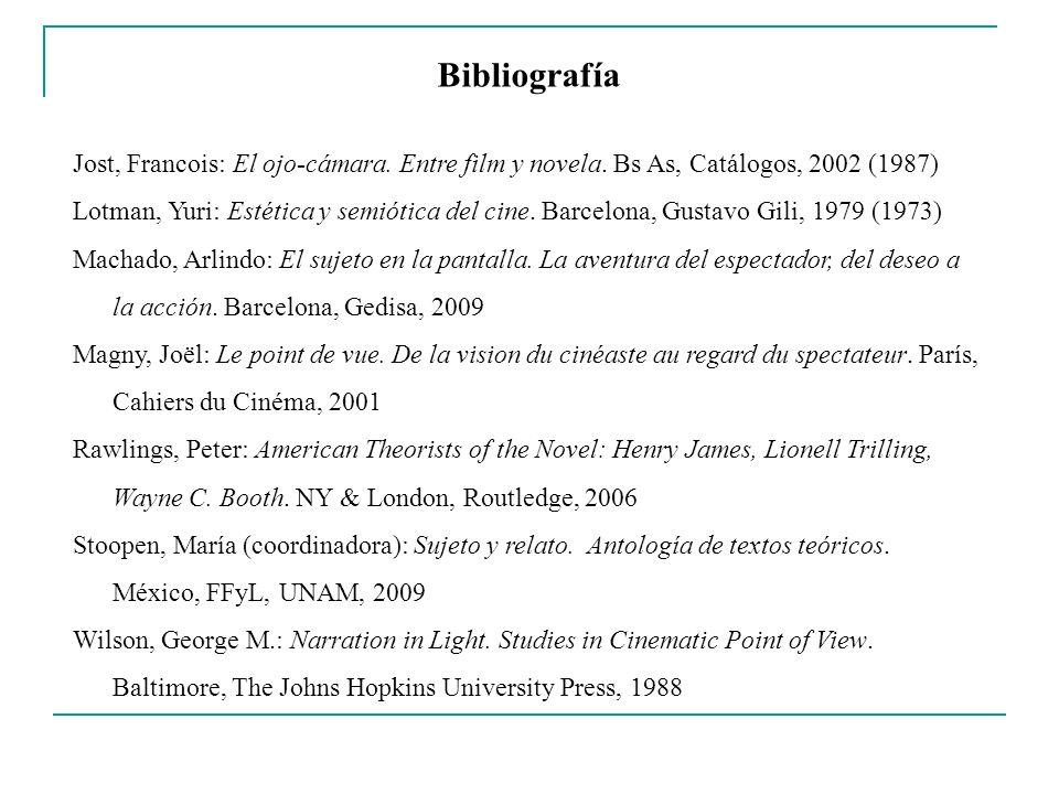 Bibliografía Jost, Francois: El ojo-cámara. Entre film y novela. Bs As, Catálogos, 2002 (1987) Lotman, Yuri: Estética y semiótica del cine. Barcelona,