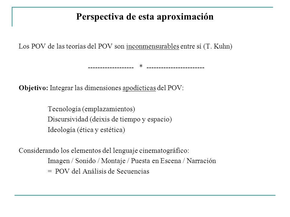 Dimensiones del Punto de Vista Narrativo Aproximaciones disciplinarias e interdisciplinarias Dimensión Tecnológica Emplazamiento y desplazamientos de la cámara / Banda sonora Dimensión Estética Funciones del encuadre (Framing) / Puesta en escena / Montaje Dimensión Semiótica Sujeto de la enunciación / Objeto del enunciado (Transparencia) Dimensión Ideológica Perspectiva general (Visión del mundo) / Género y estilo Dimensión Moral Confiabilidad del relato / Complicidad / Ética y coducción