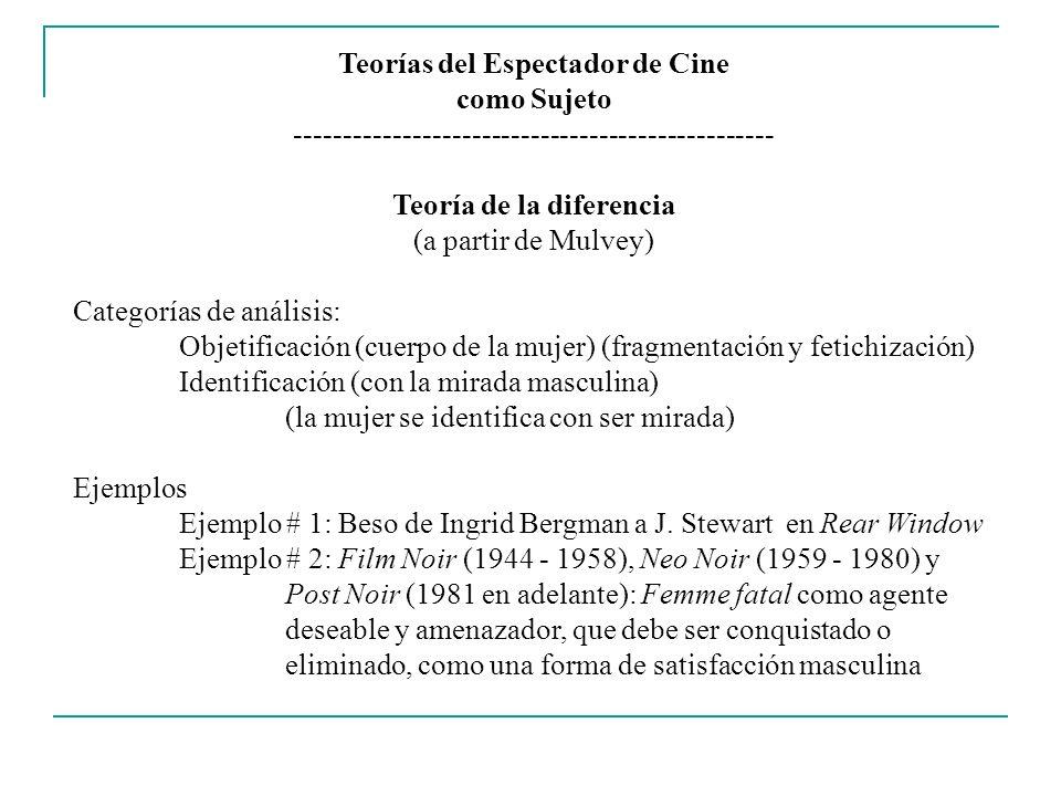 Teorías del Espectador de Cine como Sujeto ------------------------------------------------- Teoría de la diferencia (a partir de Mulvey) Categorías d