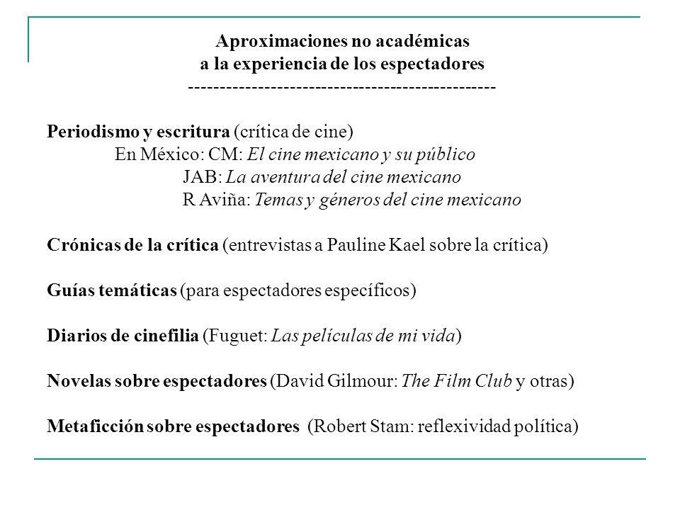 Aproximaciones no académicas a la experiencia de los espectadores ------------------------------------------------- Periodismo y escritura (crítica de