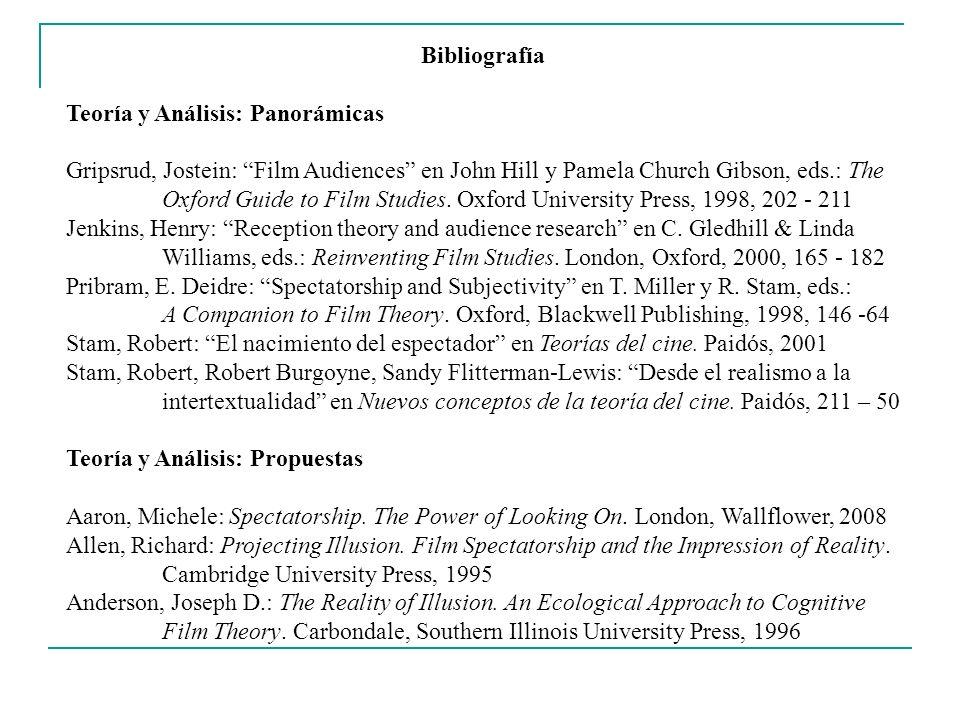 Bibliografía Teoría y Análisis: Panorámicas Gripsrud, Jostein: Film Audiences en John Hill y Pamela Church Gibson, eds.: The Oxford Guide to Film Stud