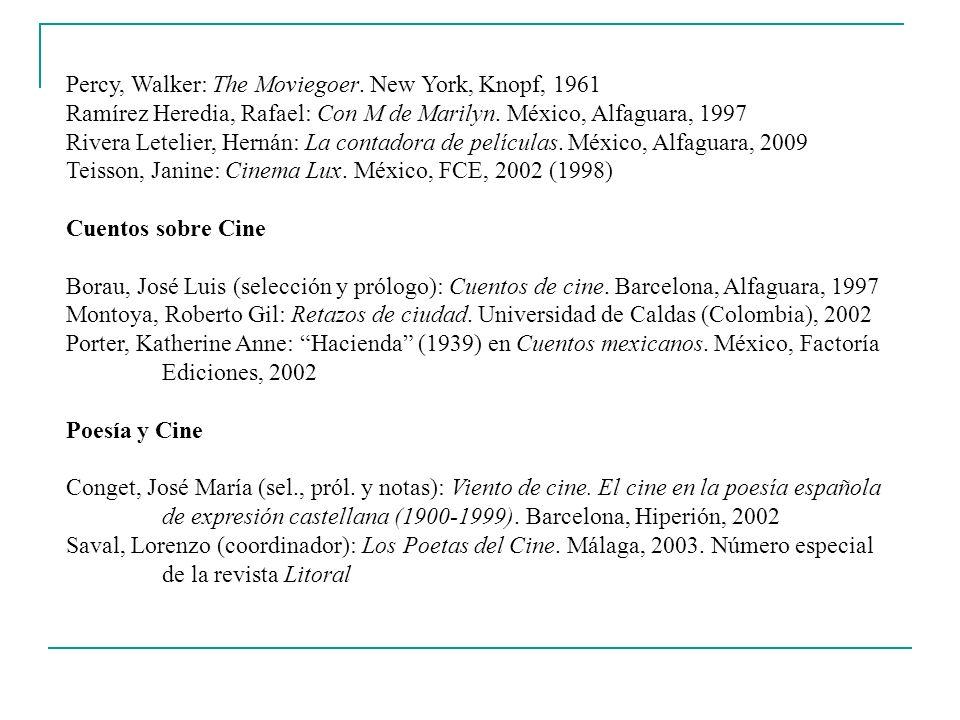 Percy, Walker: The Moviegoer. New York, Knopf, 1961 Ramírez Heredia, Rafael: Con M de Marilyn. México, Alfaguara, 1997 Rivera Letelier, Hernán: La con