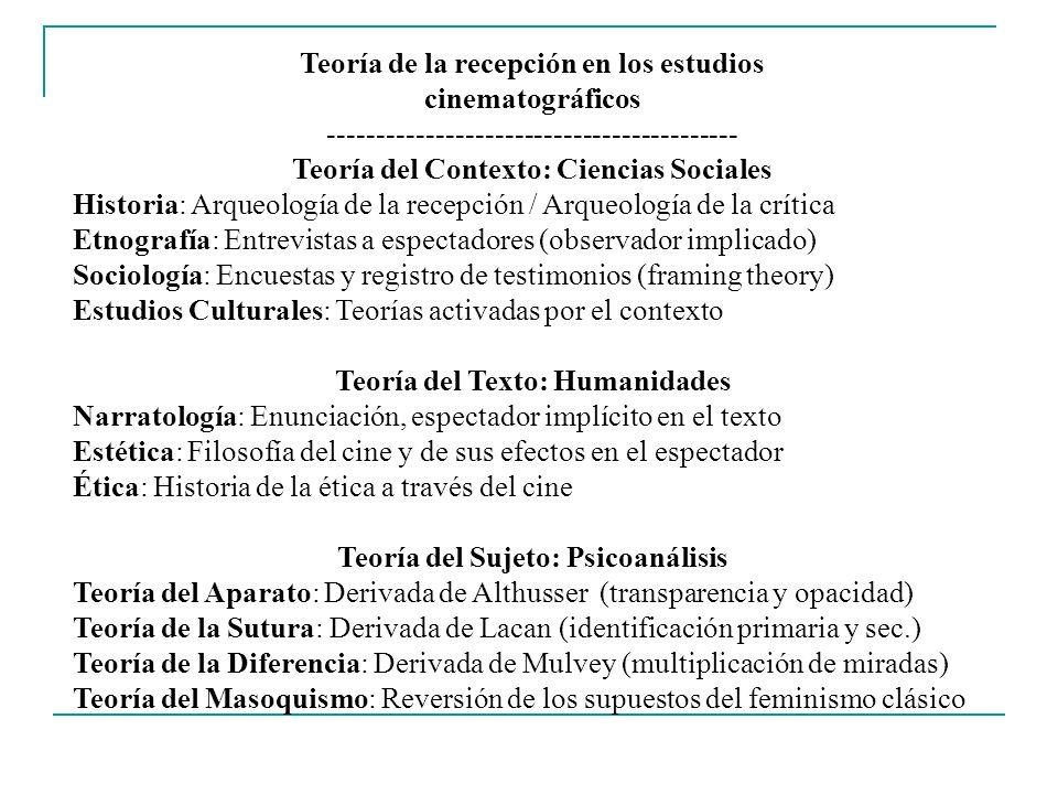 Teoría del Contexto de Recepción Cinematográfica ------------------------------------------ Historia de la Recepción Arqueología de la recepción Tradición anglosajona (historiografía reconstructiva a través de la cartelera y la crítica de la época estudiada) Revistas de historia: Iris, Wide Angle, Revista de la Academia En México: Cartelera por décadas (Jorge Ayala Blanco y C.