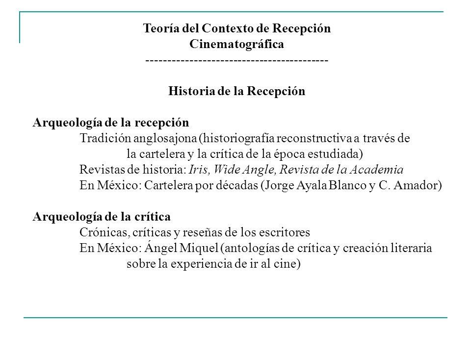 Teoría del Contexto de Recepción Cinematográfica ------------------------------------------ Etnografía de la Recepción 1980Stuart Hall: Decoding and Encoding: Lecturas múltiples: Dominante / Negociada / Resistente Etnografía del espectador: 1) Texto: Focalización, POV, estructura narrativa, puesta en escena 2) Tecnología: Pantalla y condiciones de reproducción 3) Institución social: Ritual de ir al cine, trabajos escolares 4) Contexto: Discursos que circulan sobre la película 5) Identidad: Raza, género, clase, edad, historia personal Trabajo de campo en Alemania, Inglaterra, Estados Unidos, España En México: Norma Iglesias (Tijuana); Patricia Torres (Guadalajara)