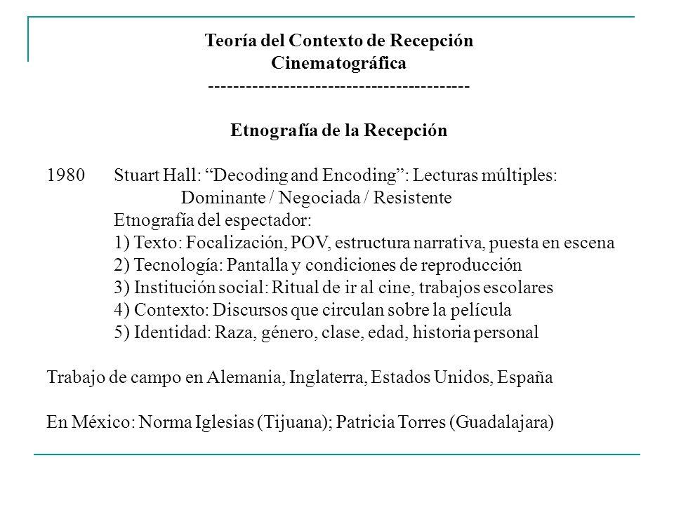 Teoría del Contexto de Recepción Cinematográfica ------------------------------------------ Etnografía de la Recepción 1980Stuart Hall: Decoding and E