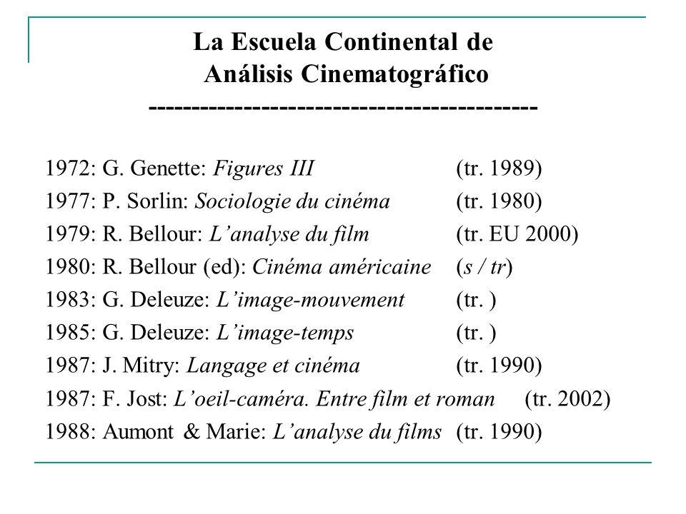 La Escuela Continental de Análisis Cinematográfico -------------------------------------------- 1972: G. Genette: Figures III (tr. 1989) 1977: P. Sorl