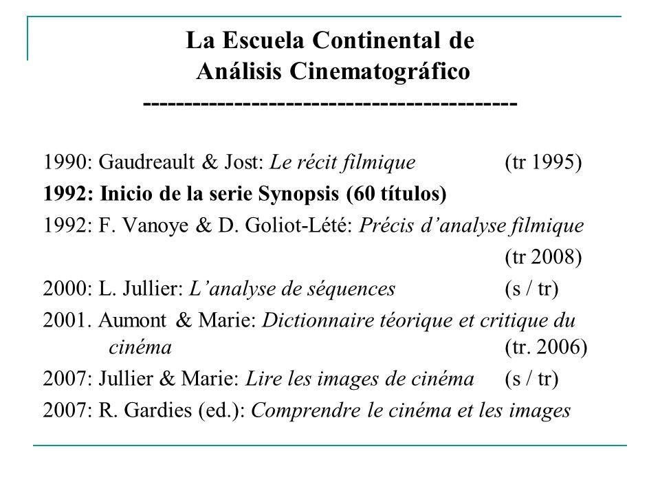 La Escuela Continental de Análisis Cinematográfico -------------------------------------------- 1990: Gaudreault & Jost: Le récit filmique (tr 1995) 1