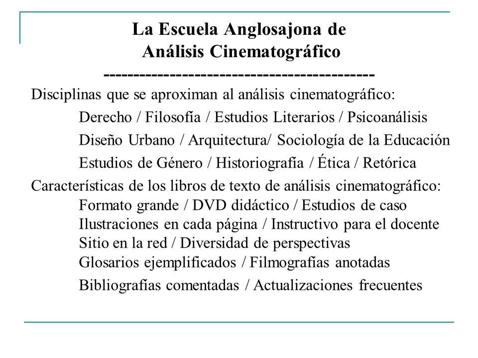 La Escuela Anglosajona de Análisis Cinematográfico -------------------------------------------- Disciplinas que se aproximan al análisis cinematográfi