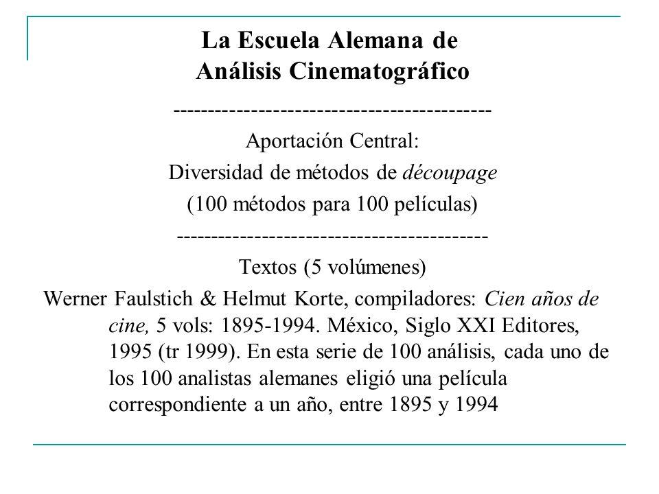 La Escuela Alemana de Análisis Cinematográfico -------------------------------------------- Aportación Central: Diversidad de métodos de découpage (10