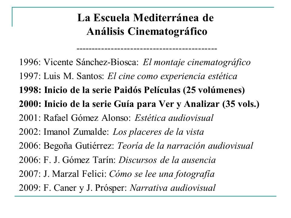 La Escuela Mediterránea de Análisis Cinematográfico -------------------------------------------- 1996: Vicente Sánchez-Biosca: El montaje cinematográf
