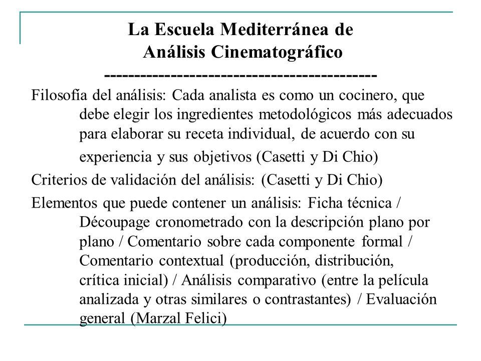 La Escuela Mediterránea de Análisis Cinematográfico -------------------------------------------- Filosofía del análisis: Cada analista es como un coci