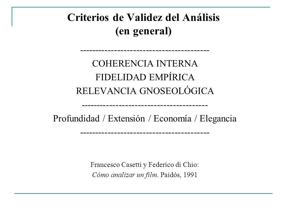 Criterios de Validez del Análisis (en general) ----------------------------------------- COHERENCIA INTERNA FIDELIDAD EMPÍRICA RELEVANCIA GNOSEOLÓGICA