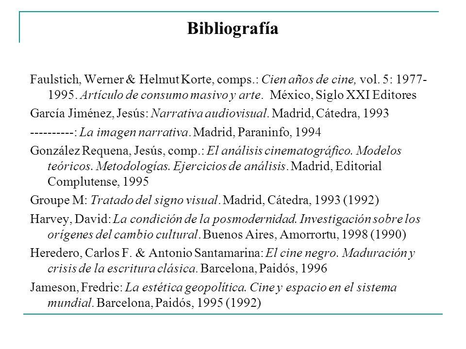 Bibliografía Faulstich, Werner & Helmut Korte, comps.: Cien años de cine, vol. 5: 1977- 1995. Artículo de consumo masivo y arte. México, Siglo XXI Edi
