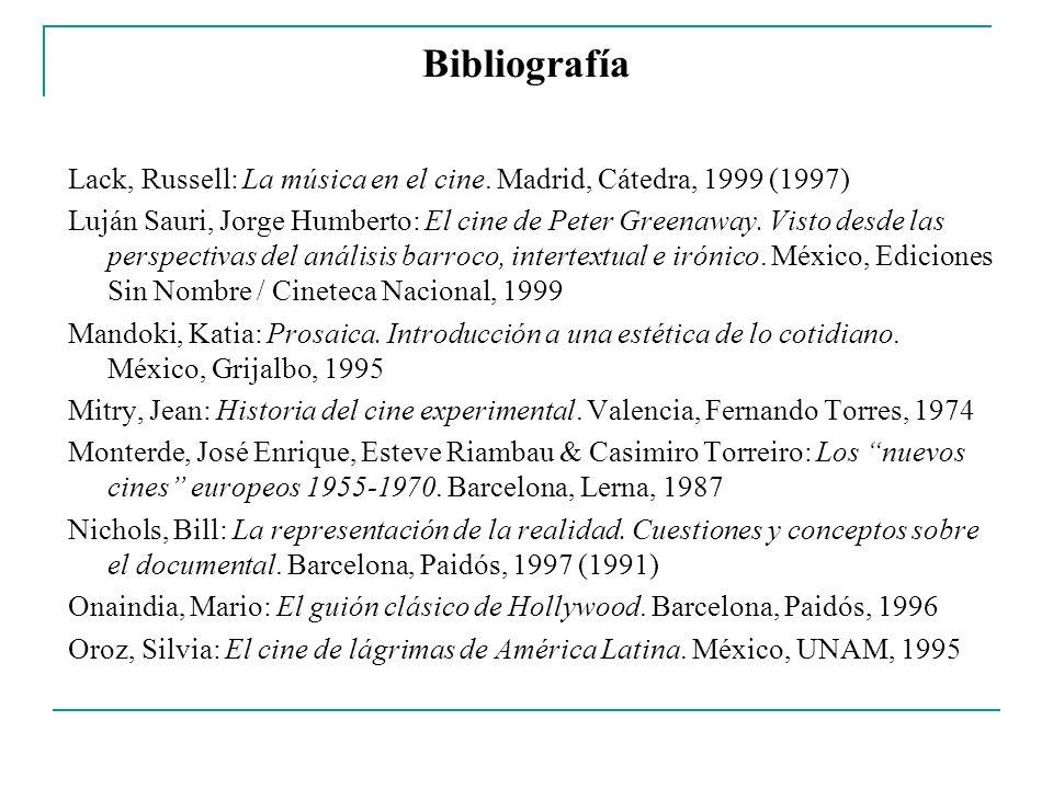 Bibliografía Lack, Russell: La música en el cine. Madrid, Cátedra, 1999 (1997) Luján Sauri, Jorge Humberto: El cine de Peter Greenaway. Visto desde la