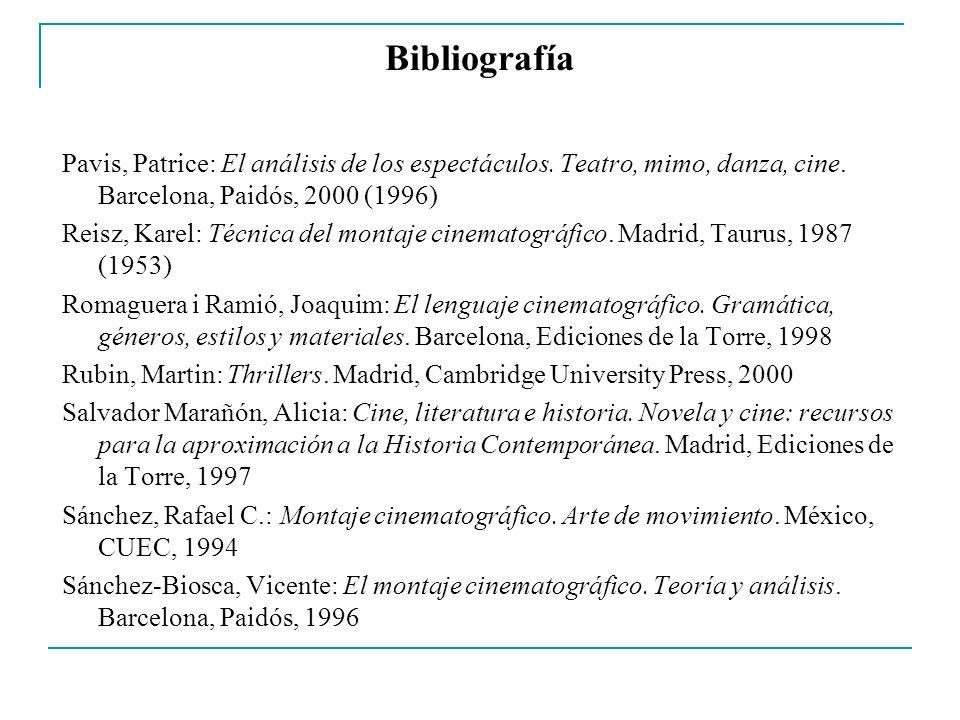 Bibliografía Pavis, Patrice: El análisis de los espectáculos. Teatro, mimo, danza, cine. Barcelona, Paidós, 2000 (1996) Reisz, Karel: Técnica del mont