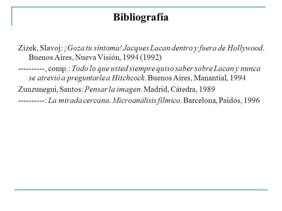 Bibliografía Zizek, Slavoj: ¡Goza tu síntoma! Jacques Lacan dentro y fuera de Hollywood. Buenos Aires, Nueva Visión, 1994 (1992) ----------, comp.: To